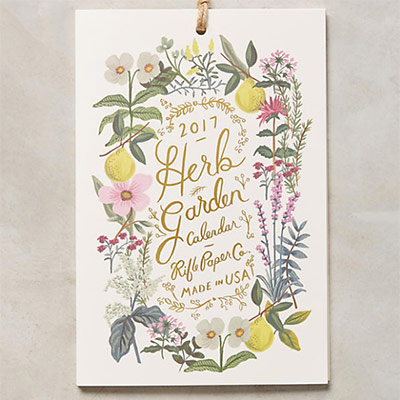 Herb Garden 2017 Desk Calendar