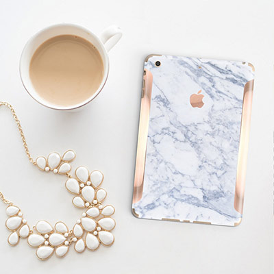 White Marble with Rose iPad Skin